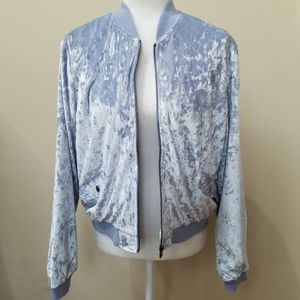 Bomber Jacket Blue Crushed Velvet